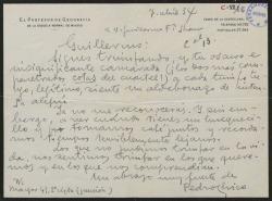 Carta de Pedro Chico a Guillermo Fernández-Shaw, evocando sus tiempos de servicio militar y deseando reunirse con él algún día.