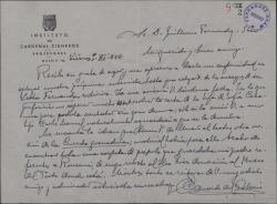 """Carta de Eduardo del Palacio Fontán a Guillermo Fernández-Shaw, aplazando una entrevista y aludiendo a cierto proyecto sobre la """"Cuerda granadina""""."""