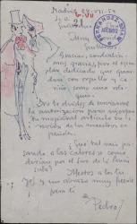 Tarjeta postal de Pedro Chico a Guillermo Fernández-Shaw, agradeciendo un ejemplar dedicado y pidiendo autorización para publicar un artículo en una revista de maestros.