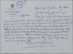 Carta de Eduardo del Palacio Fontán a Guillermo Fernández-Shaw, agradeciéndole sus elogios.