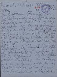 """Carta de Julia Mélida a Guillermo Fernández-Shaw, agradeciendo acuse de recibo del guión de """"Señorita Guimerá"""""""