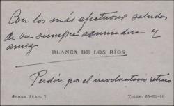 Tarjeta de visita de Blanca de los Ríos enviando un saludo afectuoso.