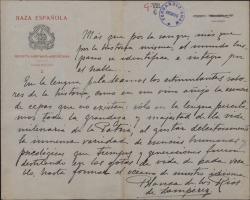 Fragmento autógrafo de Blanca de los Ríos sobre el habla hispana.