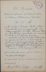 Carta de Francisco Rodríguez Marín a Luis Araujo Costa, comunicándole que ha aprobado una opositora por la que se había interesado Guillermo Fernández-Shaw.