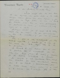 Carta de Francisco Ayala a Guillermo Fernández-Shaw, hablando de unos libros que ha recibido.