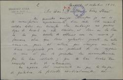Carta de Francisco Ayala a Guillermo Fernández-Shaw, felicitándole por una nueva obra estrenada.