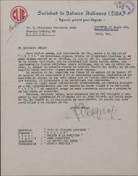Carta de Ferruccio Pasquali a Guillermo Fernández-Shaw, pidiéndole ayuda en cierto asunto de libros italianos con una editorial española.
