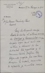 """Carta de Maurice Legendre a Guillermo Fernández-Shaw, agradeciéndole el artículo publicado en """"Cortijos y Rascacielos"""" sobre las exposiciones de la Casa de Velázquez."""