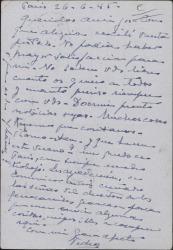 Tarjeta postal del Conde de Vignier a Guillermo Fernández-Shaw y su esposa, expresando su alegría por tener noticias de ellos.