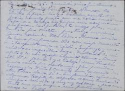 Tarjeta postal del Conde de Vignier a Guillermo Fernández-Shaw, pidiendo noticias suyas.