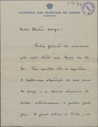 """Carta de Julio Dantas a Guillermo Fernández-Shaw, felicitándole por el éxito de """"La Severa"""" en Lisboa."""