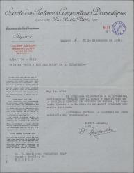 """Carta de Robert Achard a Guillermo Fernández-Shaw, adjuntando contrato de traducción debidamente firmado relativo a la obra del Sr. André Birabeau """"Tout n'est pas noir""""."""