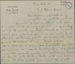 Carta de Leopoldo Magenti a Federico Romero, celebrando un éxito de éste y dándole noticias sobre el ambiente teatral valenciano. Le anuncia el envío de publicaciones sobre costumbres populares de Valencia.