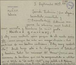 Carta de Leopoldo Magenti a Federico Romero, expresando su alegría por una posible colaboración con éste y con Guillermo Fernández-Shaw.