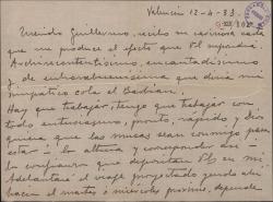 Carta de Leopoldo Magenti a Guillermo Fernández-Shaw, anunciándole un viaje a Madrid con motivo de una colaboración con él y con Federico Romero.