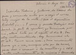 Carta de Leopoldo Magenti a Guillermo Fernández-Shaw y Federico Romero, dándoles cuenta de su trabajo y preguntando la conveniencia de un viaje suyo a Madrid.