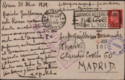 Tarjeta postal de Leopoldo Magenti a Guillermo Fernández-Shaw contándole sus éxitos en Roma.
