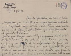 """Carta de Leopoldo Magenti a Guillermo Fernández-Shaw, felicitándole por un estreno y hablando de los decorados para """"La labradora""""."""