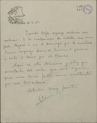 Carta de Leopoldo Magenti a Rafael Fernández-Shaw, anunciándole su llegada a Madrid.