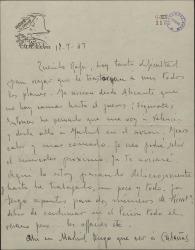 Carta de Leopoldo Magenti a Rafael Fernández-Shaw, comunicándole un cambio de planes en su viaje y que le avisará cuando llegue a Madrid.