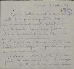 """Carta de Leopoldo Magenti a Guillermo Fernández-Shaw, sobre un posible reestreno de """"La labradora""""."""