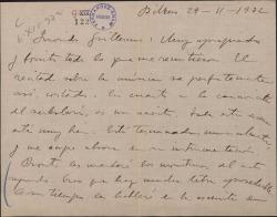 """Carta de Jesús Guridi a Guillermo Fernández-Shaw, elogiando las partes de una obra que le han mandado y anunciándole el envío de unos """"monstruos"""" de la misma."""