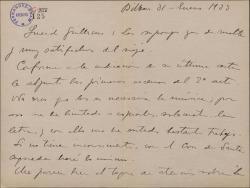 Carta de Jesús Guridi a Guillermo Fernández-Shaw, enviando parte de su trabajo para una obra de éste y comentando otros temas teatrales.