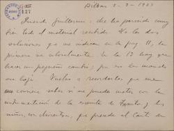 Carta de Jesús Guridi a Guillermo Fernández-Shaw, comunicando pequeños retoques en los trabajos que está realizando para una obra de éste y anúnciando la próxima finalización de los mismos.