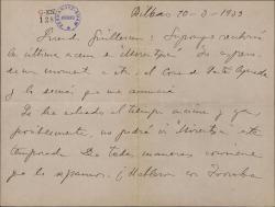 """Carta de Jesús Guridi a Guillermo Fernández-Shaw, esperando el envío de la última escena de """"Mirentxu"""" y comentando las dificultades por falta de tiempo para que se incluya en la temporada."""