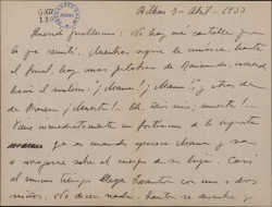 Carta de Jesús Guridi a Guillermo Fernández-Shaw, indicándole algunos detalles de los cantables de una obra.