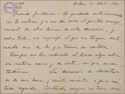 Carta de Jesús Guridi a Guillermo Fernández-Shaw, entusiasmado con la noticia de un posible resurgimiento de obras líricas de corta duración.