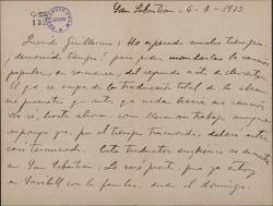 """Carta de Jesús Guridi a Guillermo Fernández-Shaw, sobre la traducción al vasco de la obra """"Mirentxu"""" y otras realizaciones musicales."""