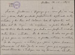 """Carta de Jesús Guridi a Guillermo Fernández-Shaw, animándole a asistir al reestreno de """"El caserío"""" y """"Mirentxu""""."""