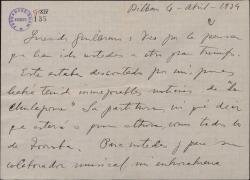 """Carta de Jesús Guridi a Guillermo Fernández-Shaw, felicitándole por el éxito de """"La chulapona""""."""