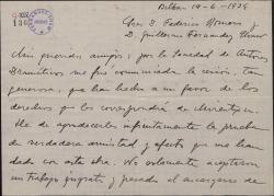 Carta de Jesús Guridi a Guillermo Fernández-Shaw y Federico Romero, agradeciéndoles la cesión que han hecho a su favor de los derechos de una obra.