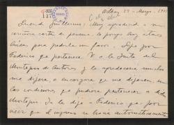 Carta de Jesús Guridi a Guillermo Fernández-Shaw, agradeciéndole un pésame y haciéndole una consulta en relación con el Montepío de Autores.