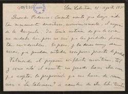 """Carta de Jesús Guridi a Federico Romero, lamentando sus pérdidas en un negocio teatral y entendiendo que no les convenga esperarle para una colaboración en """"La tabernera del puerto""""."""