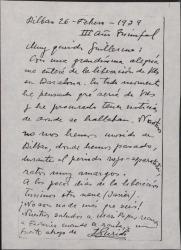 Tarjeta postal de Jesús Guridi a Guillermo Fernández-Shaw, celebrando que se encuentren a salvo, él y su familia.