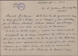 Carta de Jesús Guridi a Guillermo Fernández-Shaw, agradeciéndole la felicitación por un premio y comentando asuntos teatrales.