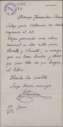 Carta de José Serrano encargando a Guillermo Fernández-Shaw un libreto para una obra.