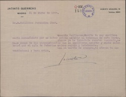 Carta de Jacinto Guerrero a Guillermo Fernández-Shaw, lamentando que no haya podido asistir a un acto en honor de áquel.