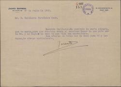 Carta de Jacinto Guerrero a Guillermo Fernández-Shaw, remitiéndole una carta para que él decida lo que sea mas conveniente en ese asunto.