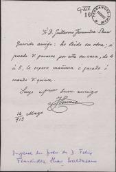 Carta de José Serrano a Guillermo Fernández-Shaw, citándole en su casa después de leer una obra suya.