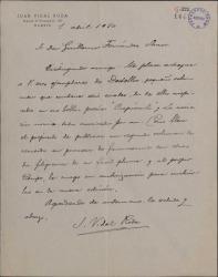 Carta de Juan Vidal Roda a Guillermo Fernández-Shaw, remitiéndole un volumen de composiciones corales, dos de ellas inspiradas en poesías de éste.