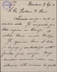 Carta de Pablo Sorozábal a Guillermo Fernández-Shaw, pidiéndole le envíe cuanto antes el libreto de la nueva obra.
