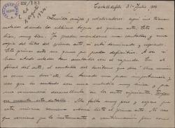 Carta de Pablo Sorozábal a Guillermo Fernández-Shaw, hablando de su trabajo en el primer acto de la obra y recomendándole una tiple cómica.
