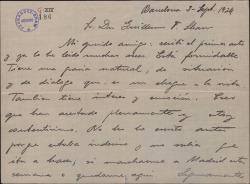 Carta de Pablo Sorozábal a Guillermo Fernández-Shaw, elogiando el acto de la obra que ha recibido.