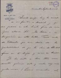 Carta de Pablo Sorozábal a Guillermo Fernández-Shaw, preguntando cuando empiezan el segundo acto de la obra en la que están colaborando.