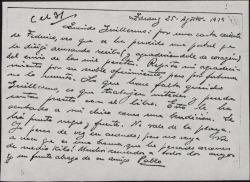 Tarjeta postal de Pablo Sorozábal a Guillermo Fernández-Shaw, agradeciendo su oferta y hablándole de su estancia en la costa.