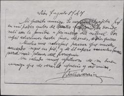 Tarjeta postal de Victorino Echevarría a Guillermo Fernández-Shaw, correspondiendo a una suya y expresando su satisfacción por un acuerdo que tienen.